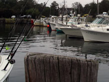 Orient Marina with fishing boats in slips.