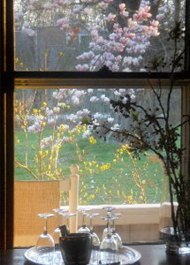 Window with view of magnolias, forsythia and rocking chair on west porch and a serving tray with glasses and ice bucket.
